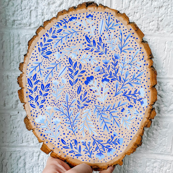 Hand Painted Floral Wood Slice