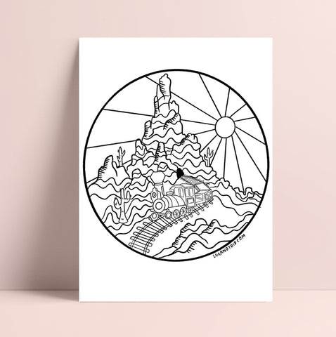 Printable Big Thunder Mountain Inspired Coloring Page