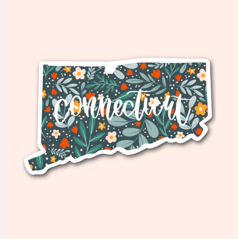 Connecticut Floral Pattern Sticker