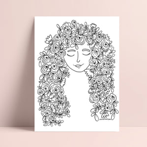 Printable Floral Hair Coloring Page