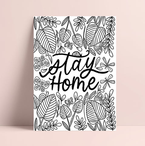 Printable Stay Home Bugs Coloring Page