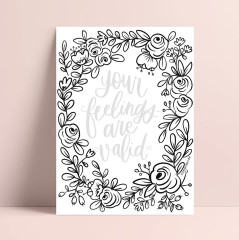 Printable Lettering Practice Florals Coloring Page
