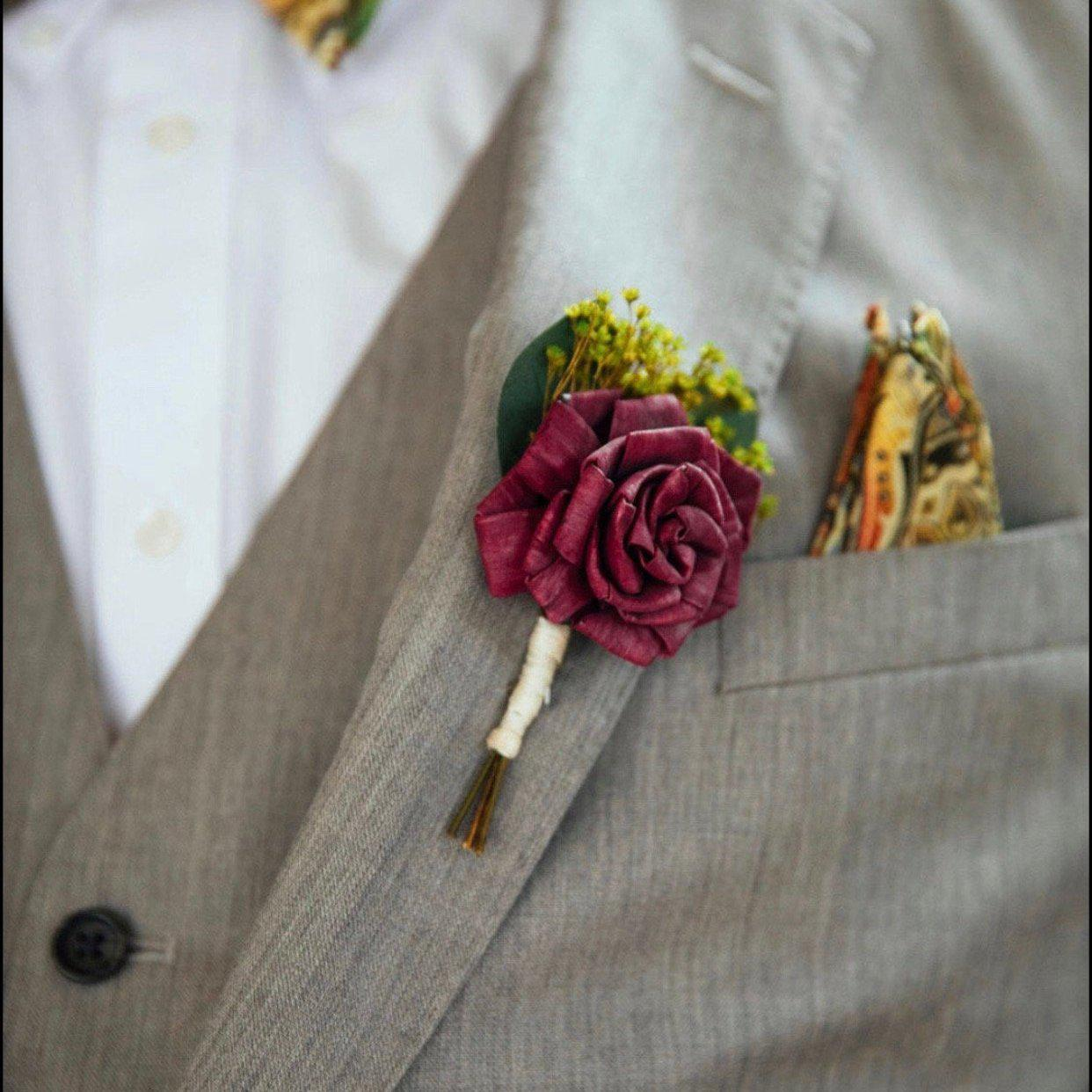 Custom Boutonniere - Wood flowers Bouquets, Boutonniere, wedding Floral Decor & Accessories - Papiro Wood Flower Designs