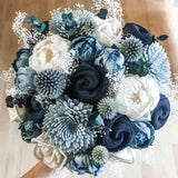 Shades of Blue Bouquet - Wood flowers Bouquets, Boutonniere, wedding Floral Decor & Accessories - Papiro Wood Flower Designs