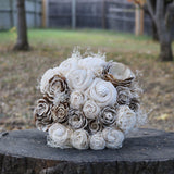 Rustic Wedding Dreams Bridal Bouquet - Wood flowers Bouquets, Boutonniere, wedding Floral Decor & Accessories - Papiro Wood Flower Designs
