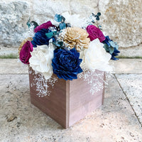 Navy, Gold, Ivory and Burgundy Centerpiece