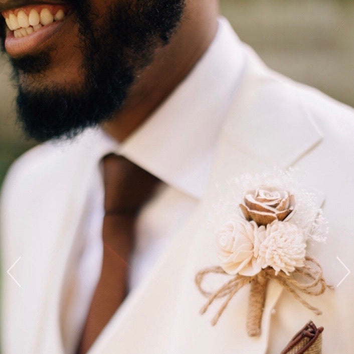 Rustic Ivory Boutonniere - Wood flowers Bouquets, Boutonniere, wedding Floral Decor & Accessories - Papiro Wood Flower Designs