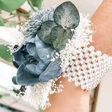 Wood Blue Peony Corsage - Wood flowers Bouquets, Boutonniere, wedding Floral Decor & Accessories - Papiro Wood Flower Designs