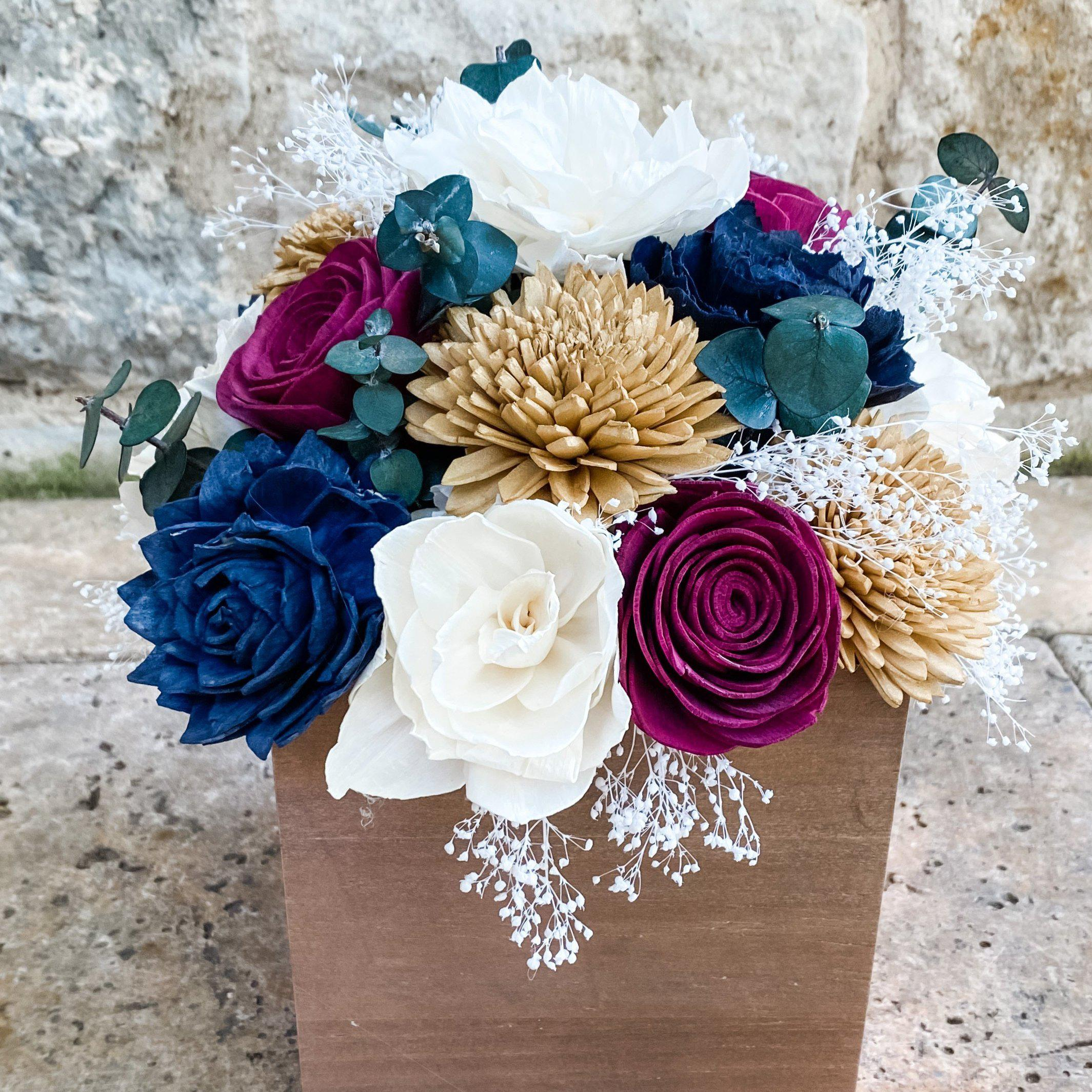 Navy, Gold, Ivory and Burgundy Centerpiece - Wood flowers Bouquets, Boutonniere, wedding Floral Decor & Accessories - Papiro Wood Flower Designs