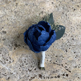 Navy Blue Boutonniere - Wood flowers Bouquets, Boutonniere, wedding Floral Decor & Accessories - Papiro Wood Flower Designs