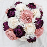 Blush, Ivory, and Burgundy Centerpiece - Wood flowers Bouquets, Boutonniere, wedding Floral Decor & Accessories - Papiro Wood Flower Designs