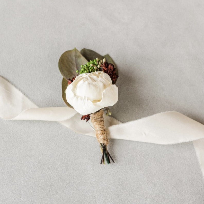 White Peony Groom Boutonniere - Wood flowers Bouquets, Boutonniere, wedding Floral Decor & Accessories - Papiro Wood Flower Designs
