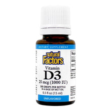 Load image into Gallery viewer, Natural Factors ® Vitamin D3 Drops 400IU (10mcg) - Unflavored (0.5 fl.oz)