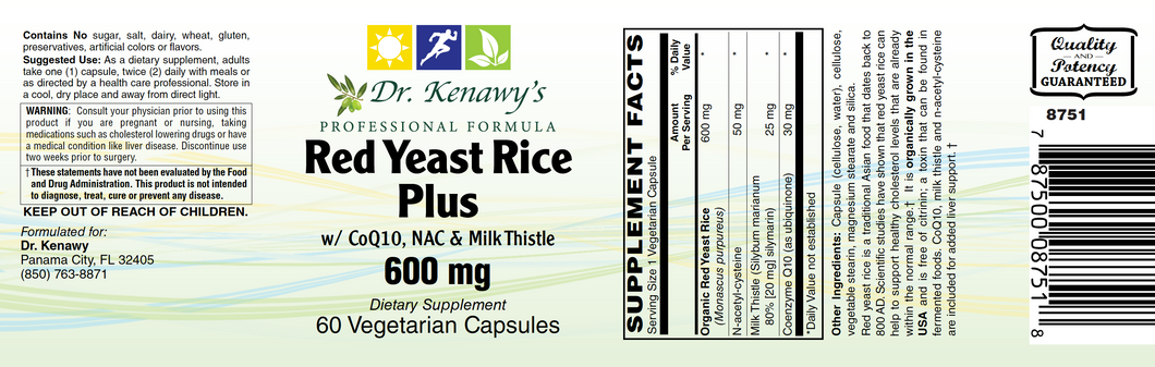 Dr. Kenawy's Red Yeast Rice Plus (60 Vegetarian Capsules)