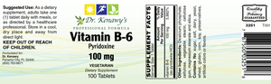 Dr. Kenawy's Vitamin B-6 (100 Tablets)