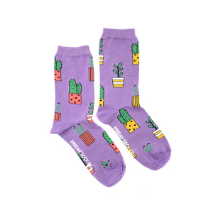 Women's Purple Potted Plant Socks