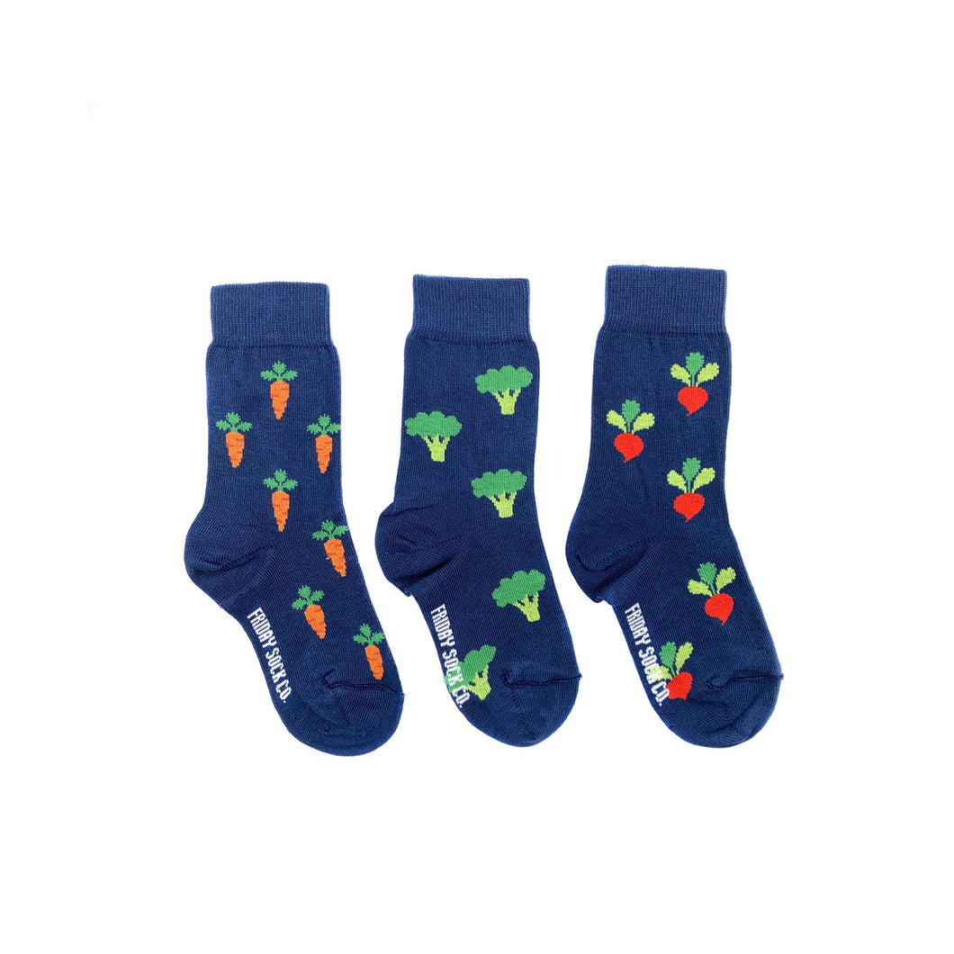 Kid's Broccoli, Radish, & Carrot Veggie Socks
