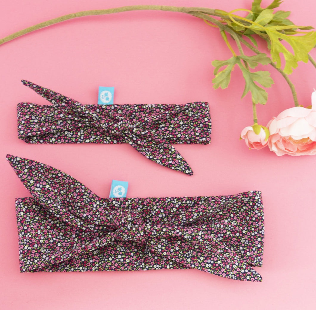 Rockabilly Headband: Navy + Tiny Florals