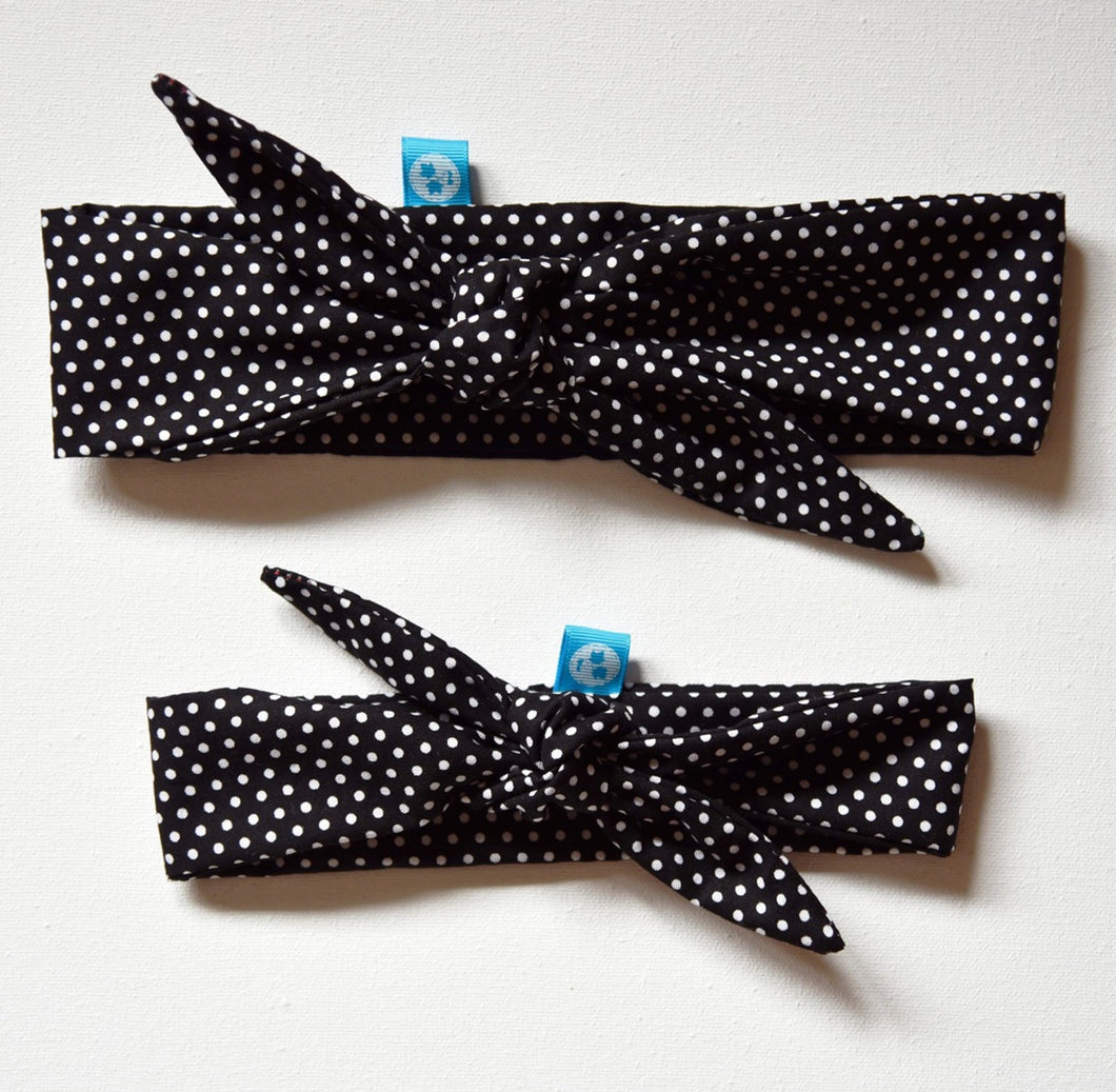 Rockabilly Headband: Black+White Polka Dots