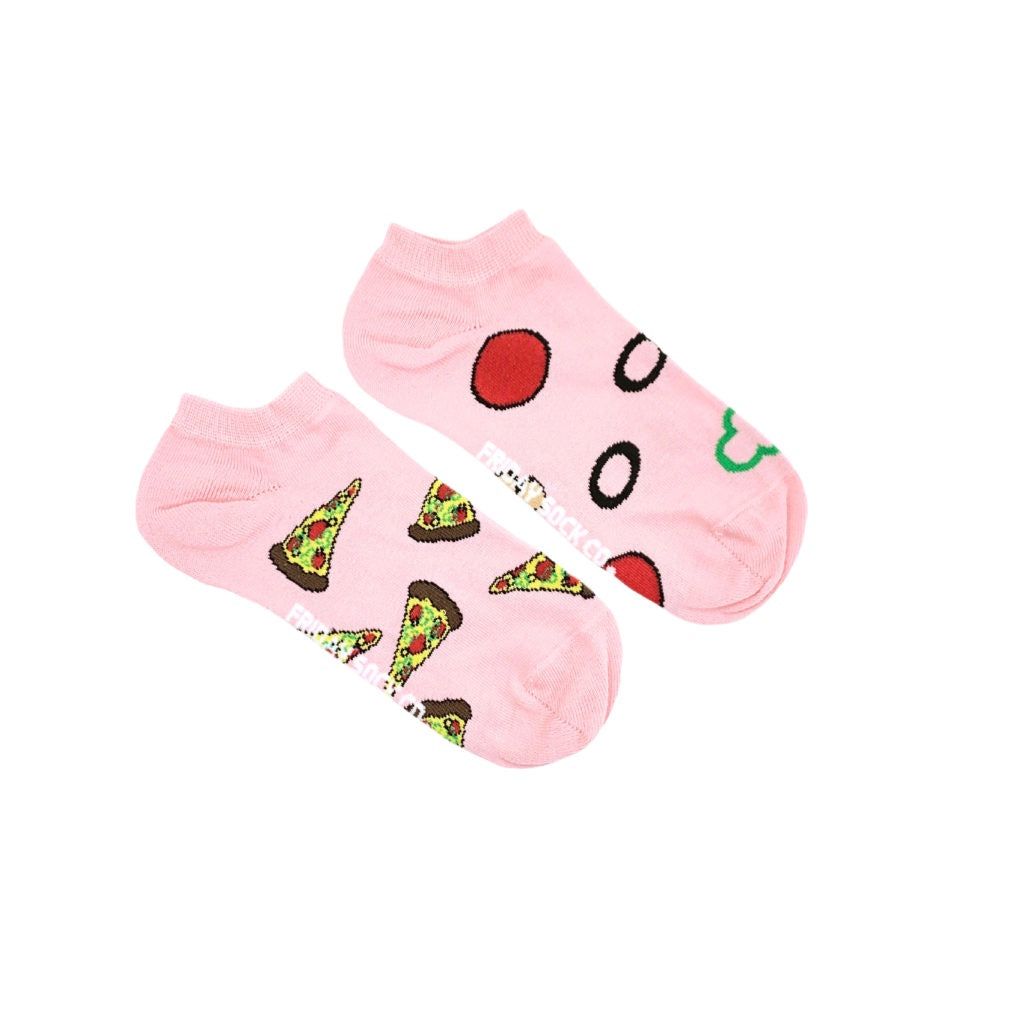 Women's Pink Pizza Topping & Pizza Ankle Socks