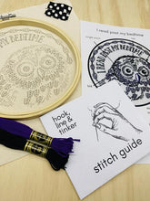 Load image into Gallery viewer, I read past my bedtime complete embroidery kit