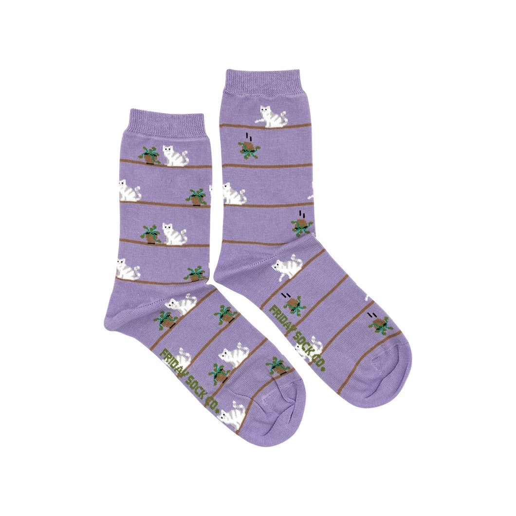 Women's Cat & Plant Socks