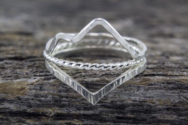 Silver Landscape Ring Set