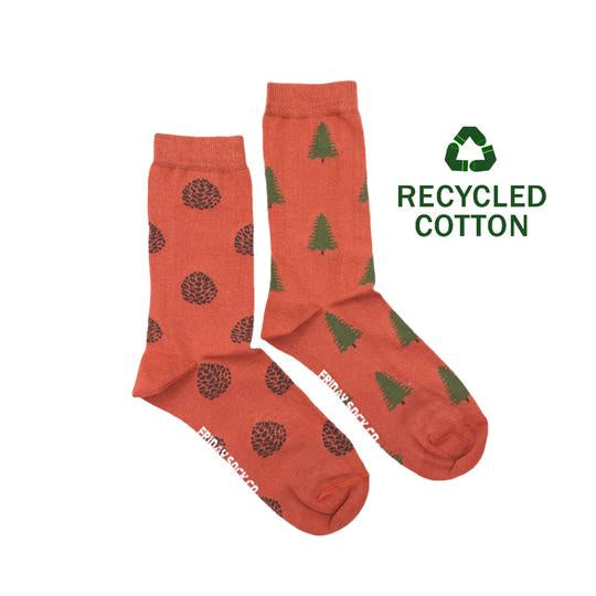 Women's Recycled Cotton Pine Cone & Pine Tree Socks