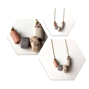 Taupe Ceramic Beaded Necklace