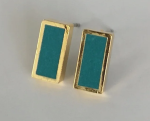 Gold Rectangle studs (10mm)