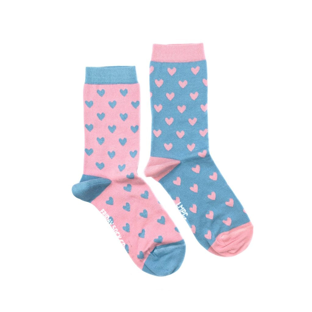 Women's Pink & Blue Heart Socks