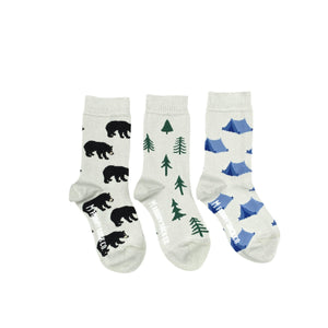 Kid's Tent Tree & Bear Camping Socks