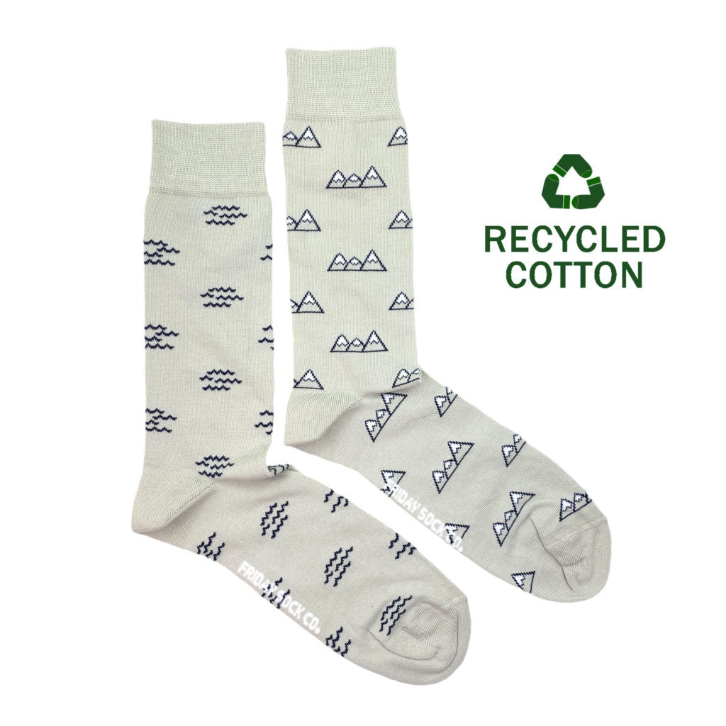 Men's Recycled Cotton Wave & Mountain Socks