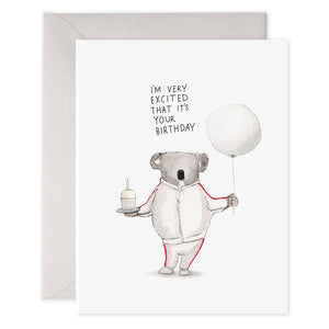 Excited Koala Birthday Card