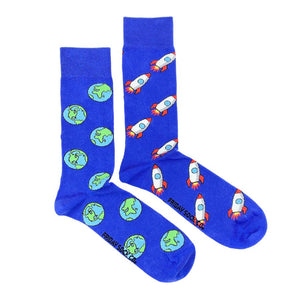 Men's Rocket & Earth Space Socks