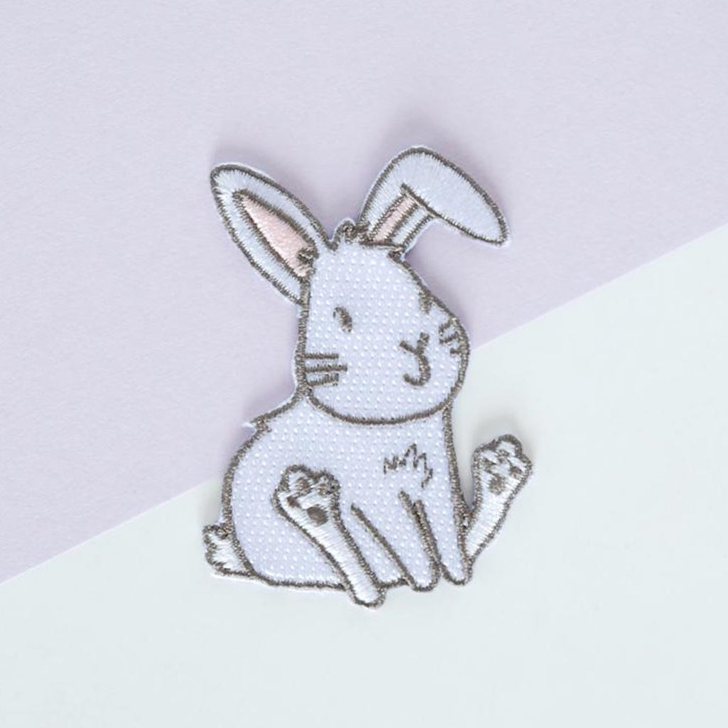 White Bunny Iron-On Patch