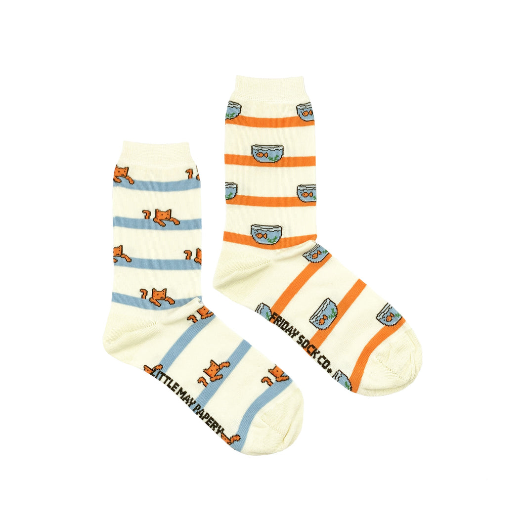 Cat & Fishbowl Crew Socks