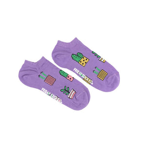Women's Purple Potted Plant Ankle Socks