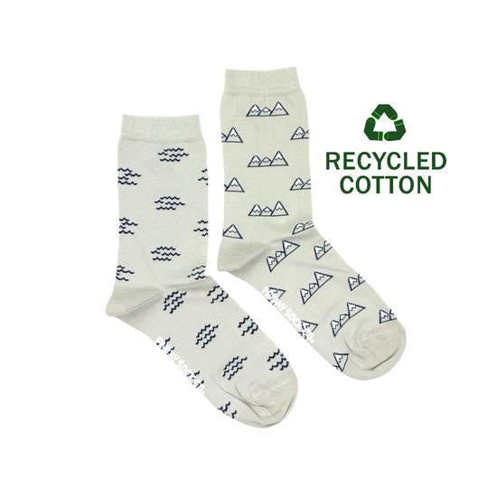 Women's Recycled Cotton Wave & Mountain Socks