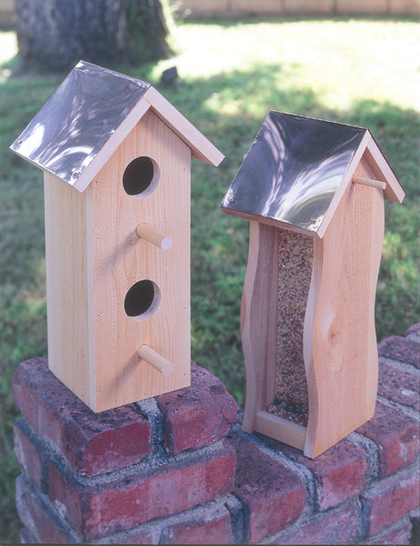 Cedar Birdhouse & Feeder