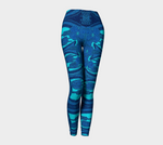 Abstract Faux Denim Blue Leggings