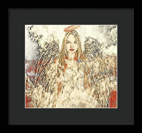 Angel in the Clouds Abstract - Framed Print
