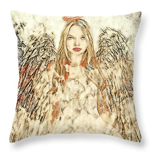 Angel in the Clouds Abstract - Throw Pillow