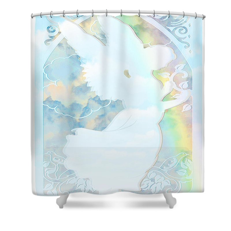 Angel Silhouette - Shower Curtain