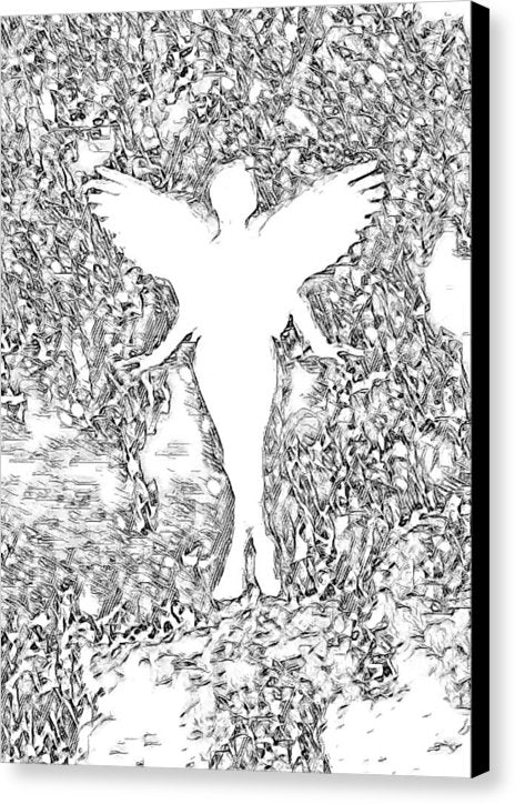 Angel Silhouette in Black and White - Canvas Print