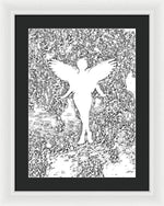 Angel Silhouette in Black and White - Framed Print