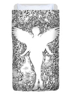 Angel Silhouette in Black and White - Duvet Cover