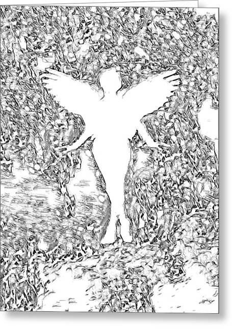Angel Silhouette in Black and White - Greeting Card