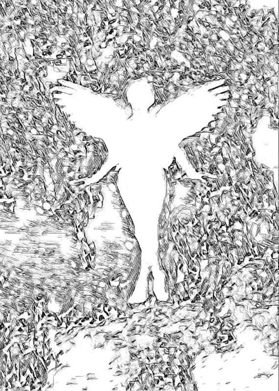 Angel Silhouette in Black and White - Art Print