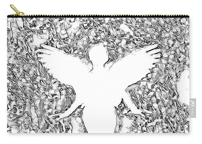 Angel Silhouette in Black and White - Carry-All Pouch